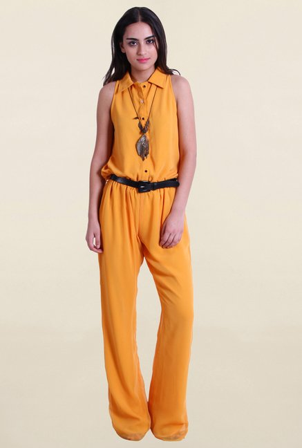 Drapes & Silhouettes Yellow Solid Jumpsuit