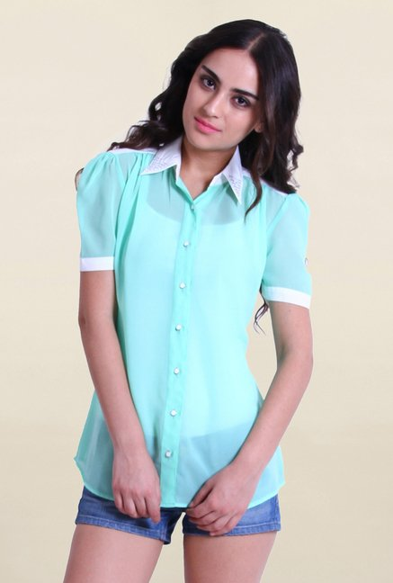 Drapes & Silhouettes Sky Blue Solid Shirt