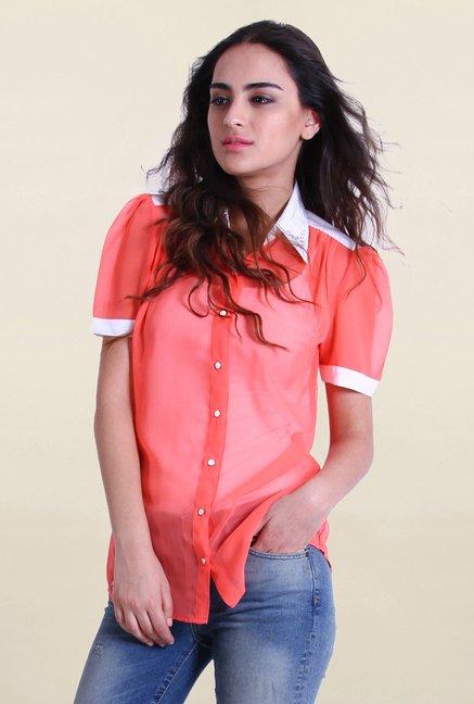 Drapes & Silhouettes Peach Solid Shirt