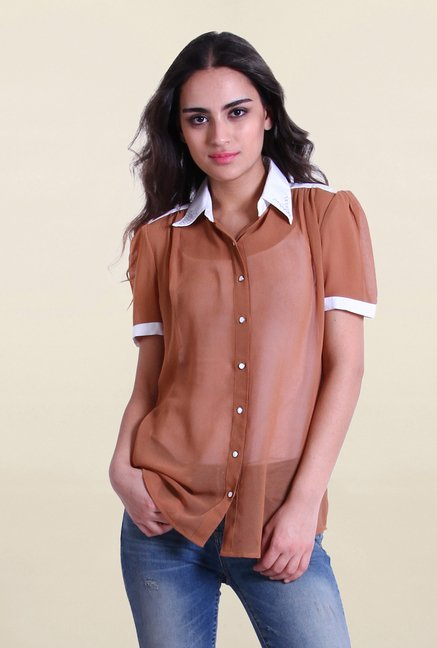 Drapes & Silhouettes Beige Solid Shirt