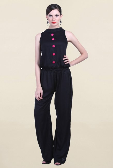 Drapes & Silhouettes Black Solid Jumpsuit