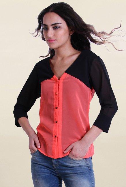 Drapes & Silhouettes Peach Black Solid Shirt