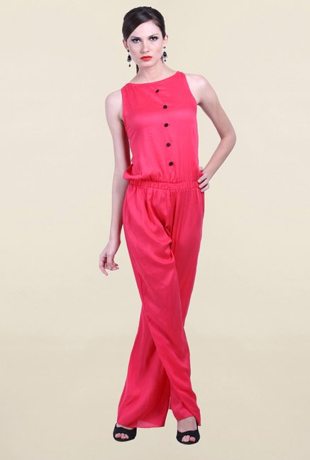 Drapes & Silhouettes Pink Solid Jumpsuit