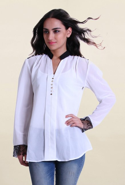 Drapes & Silhouettes White Solid Shirt