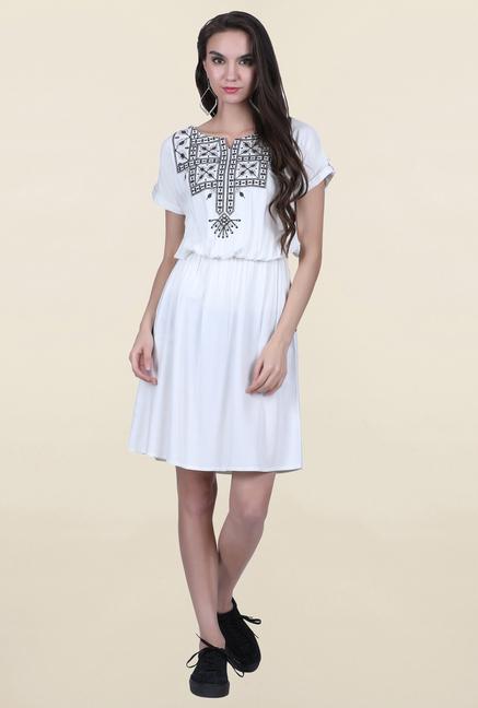 Juniper White Embroidered Dress