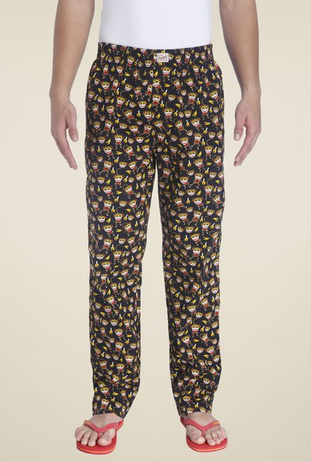 Jack & Jones Black Printed Regular Fit Mid Rise Pyjamas