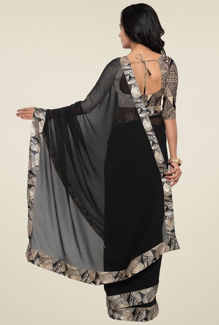 Triveni Black Printed Saree