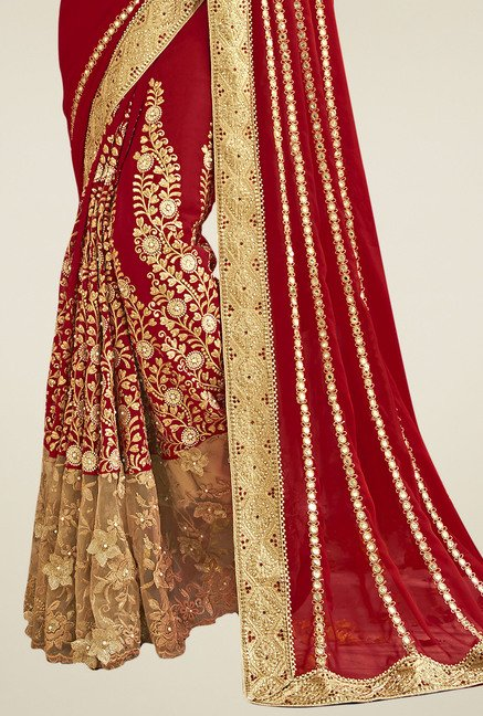 Triveni Maroon & Cream Embroidered Saree