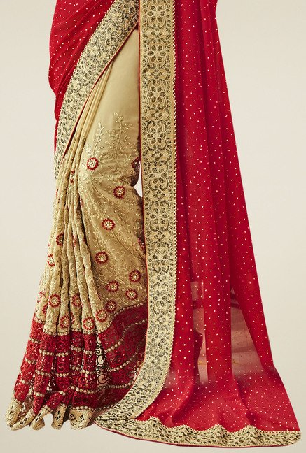 Triveni Maroon Embroidered Saree With Blouse