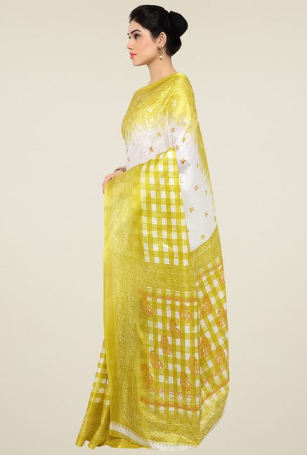 Triveni Yellow Printed Saree