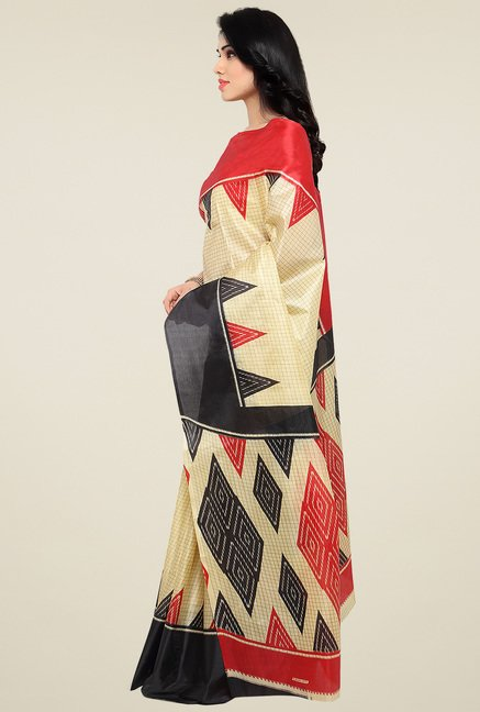 Triveni Beige & Black Printed Silk Saree