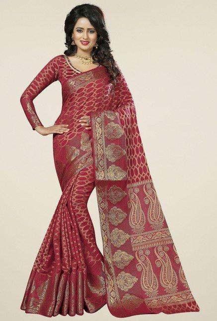 b73403fba06 Buy Triveni Red Printed Art Silk Saree for Women Online   Tata CLiQ