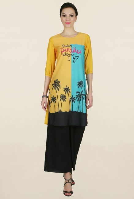 Juniper Yellow Printed Kurti
