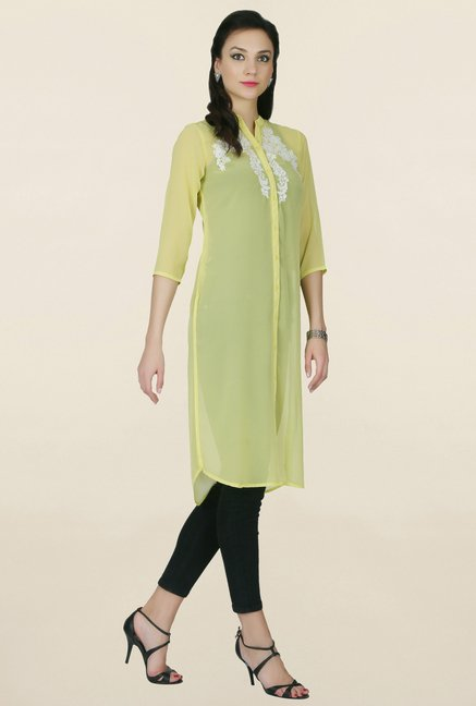 Juniper Yellow Embroidered Kurta