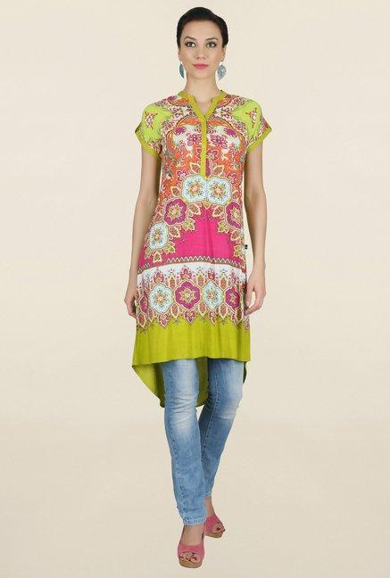 Juniper Green & Pink Printed Kurti