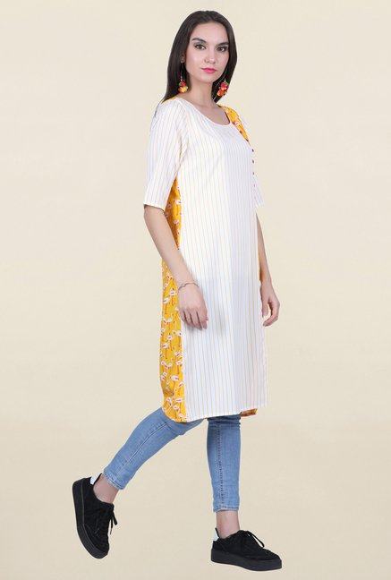 Juniper Off White Striped Kurta