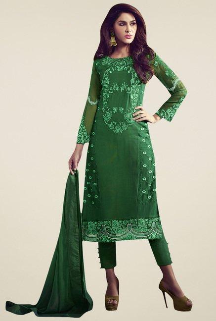 Dark Green Embroidered Dress