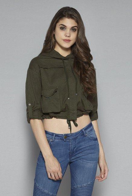 41c766b6e51ab Buy Nuon by Westside Olive Bersh Jacket for Women Online   Tata CLiQ