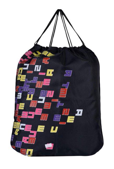 N-Gal Black Printed Polyester Backpack