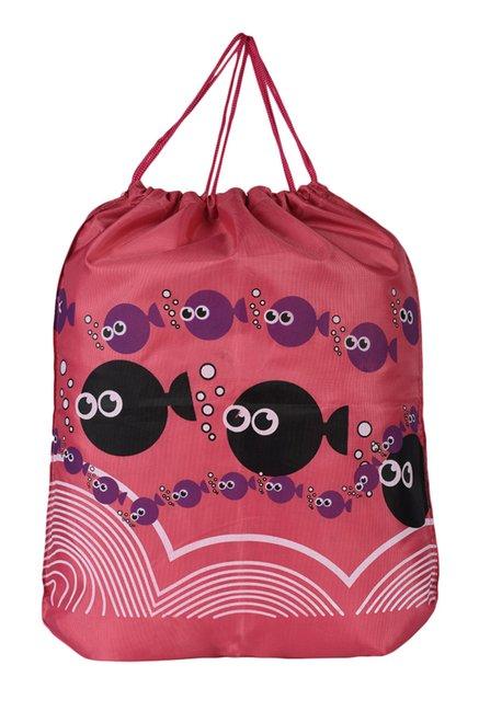 N-Gal Pink Fish Print Polyester Backpack