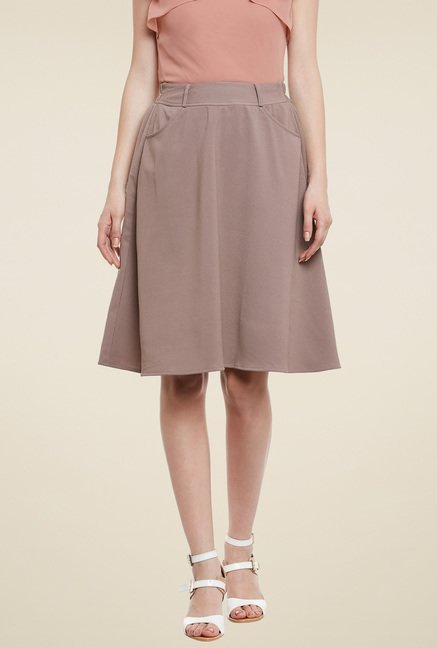 Meee Brown Knee Length Skirt
