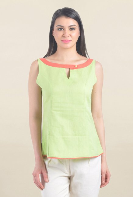 Drapes & Silhouettes Green Textured Top
