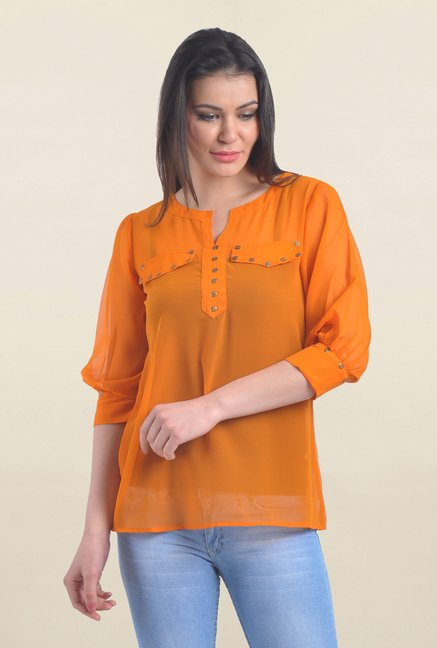 Drapes & Silhouettes Orange Solid Top