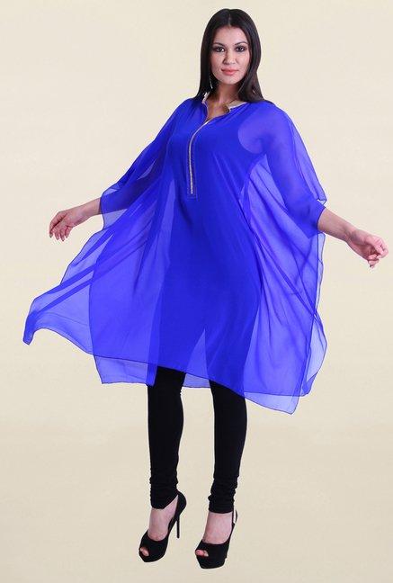 Drapes & Silhouettes Blue Solid Kaftan