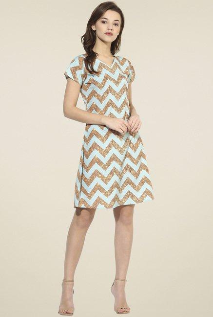 Ahalyaa Teal Blue Short Sleeves Dress