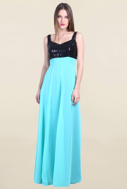 Drapes & Silhouettes Turquoise Embellished Georgette Gown