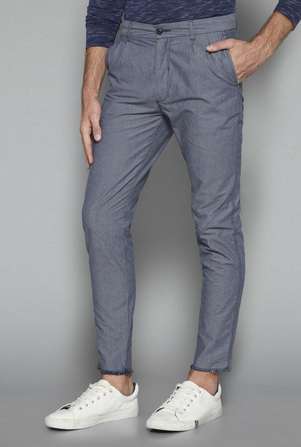 ETA by Westside Blue Textured Slim Fit Chinos