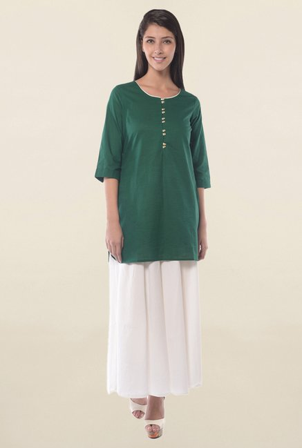 Aurelia Green Solid Kurti