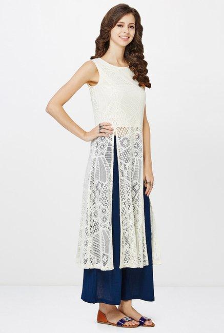 df953621f7176 Buy Global Desi Off White Lace Kurta for Women Online @ Tata CLiQ