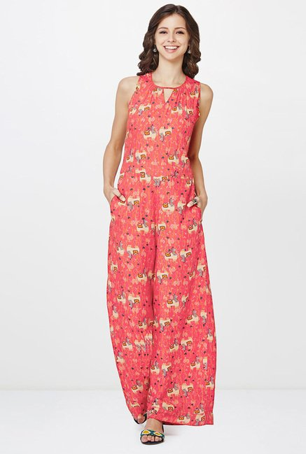 Global Desi Coral Printed Jumpsuit