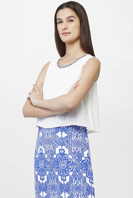 AND White & Blue Printed Dress