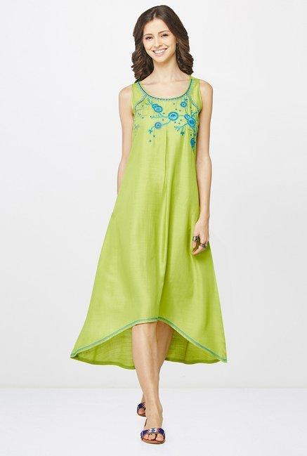 faa983cdc68 Buy Global Desi Green Embroidered Tunic for Women Online @ Tata ...