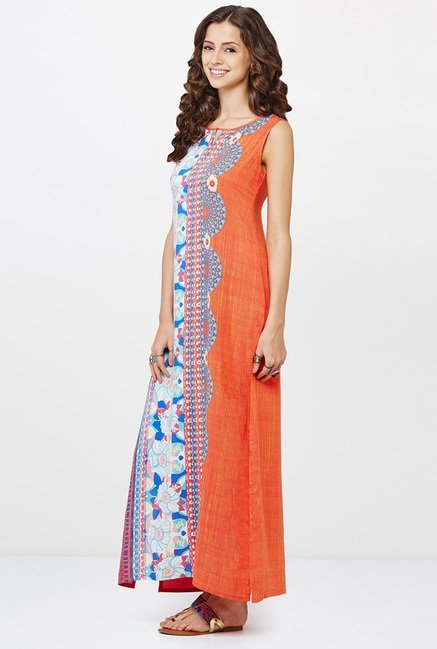 Global Desi Coral Printed Dress