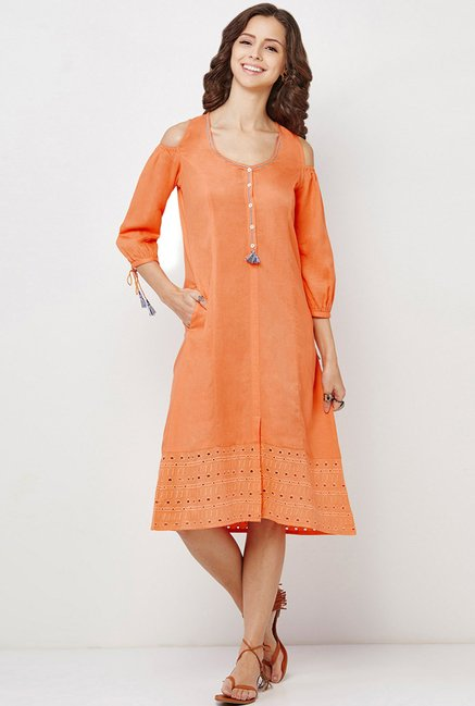 Global Desi Orange Solid Dress