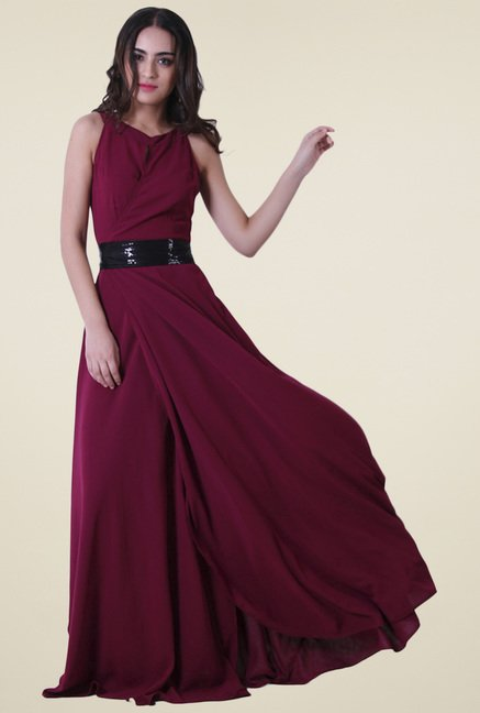Drapes & Silhouettes Maroon Sleeveless Regular Fit Dress