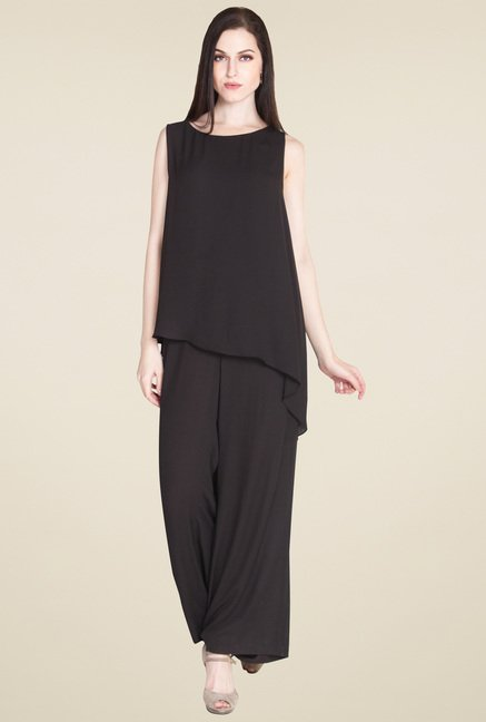 Drapes & Silhouettes Black Sleeveless Jumpsuit