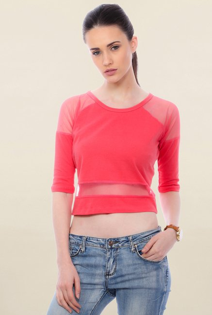 85abd734861 Buy Cation Coral Solid Crop Top for Women Online   Tata CLiQ