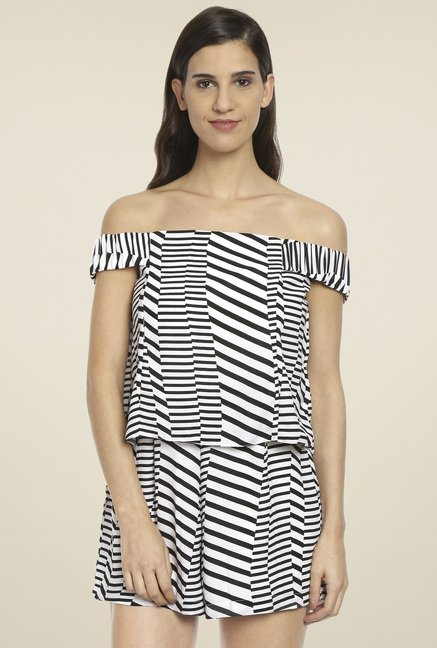Love Gen Black & White Off-Shoulder Playsuit