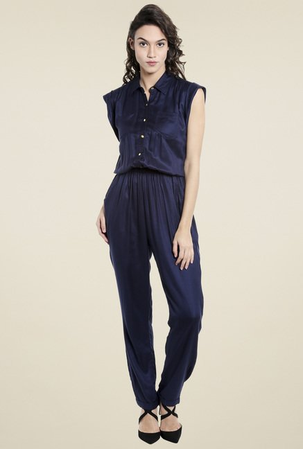 Love Gen Navy Shirt Collar Jumpsuit