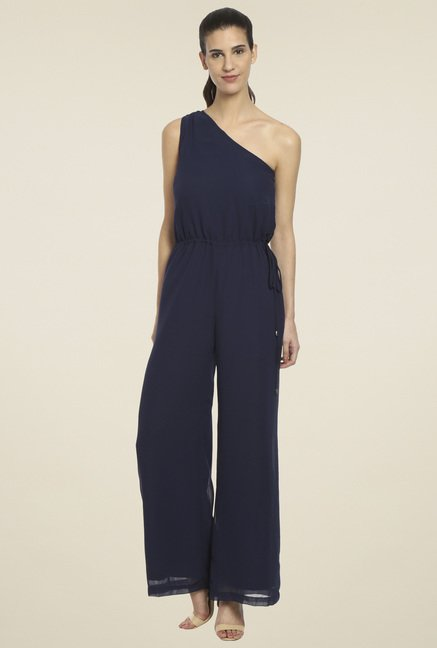 Love Gen Navy One-Shoulder Jumpsuit