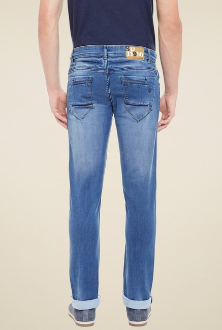 Duke Blue Mid Rise Slim Fit Jeans
