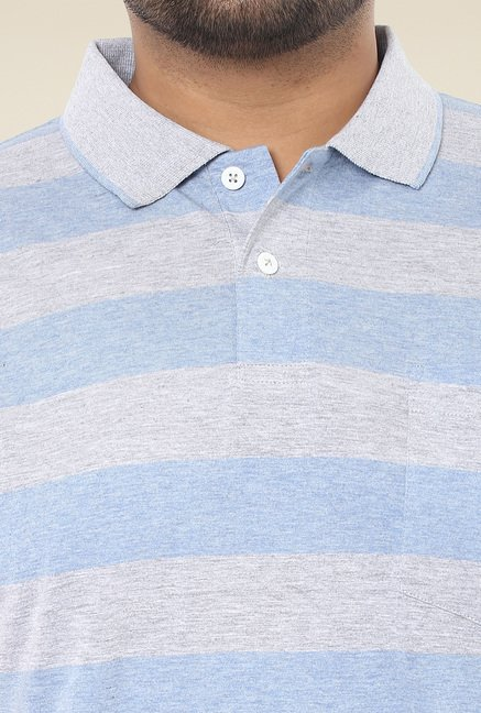 John Pride Grey & Light Blue Regular Fit Polo T-Shirt