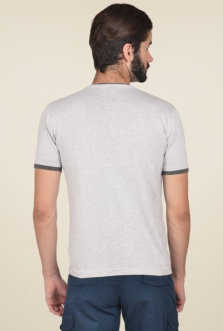 Club Fox Light Grey Cotton V-Neck T-Shirt