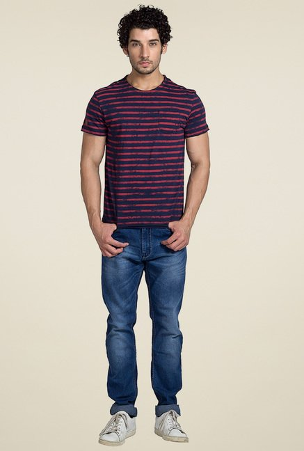 Club Fox Navy Striped Cotton T-Shirt