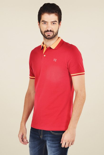 Club Fox Red Cotton Polo T-Shirt