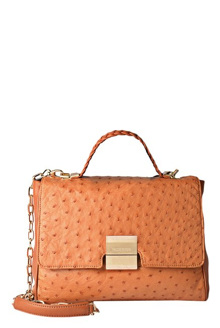 84134bb11d58 Buy Hidesign Reims Tan Ostrich Skin Leather Sling Bag For Women At Best  Price   Tata CLiQ